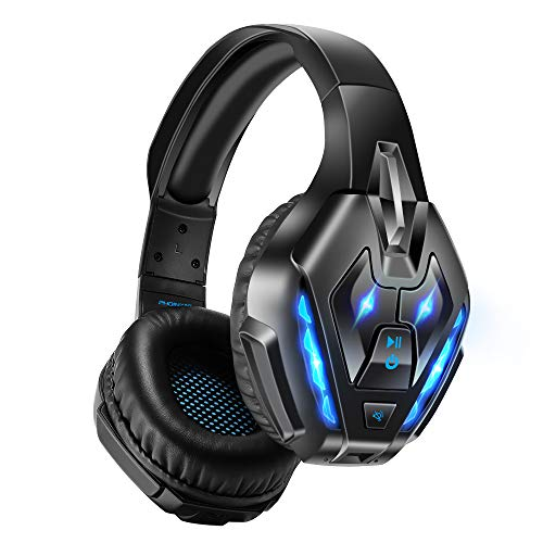 PHOINIKAS Gaming Headset for PS5, PS4, PC, Xbox one Headset with 7.1 Stereo Sound, Bluetooth Wireless Headset for Phone, Over Ear Headphones with Noise Cancelling Detachable Mic, Bluetooth Up to 40h