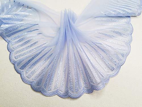 Precisie Geborduurde Mesh Kant Stof DIY Kinderkleding Retro Cheongsam Jurk Lange Rok Neckline Prachtige Accessoires 1 yard Blauw