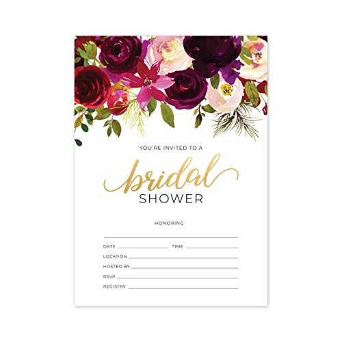 Fall Floral Fill in The Blank Bridal Shower Invitation / 25 Bridal Shower Invitations and Envelopes