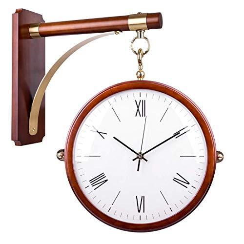 CAO-Decor Reloj de la estación, la estación de la Vendimia del péndulo Doble Cara, Reloj de la estación Retro de Doble Cara Reloj de Pared Ideal para el hogar Jardín Terraza, 42 * 39cm