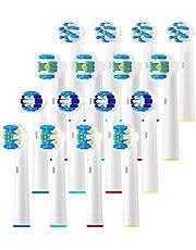 REDTRON 16 stuks opzetborstels voor Oral B-wit, opzetborstels voor elektrische tandenborstels, Family Pack opzetborstels voor Oral B Pro 2 2900 / Pro 2 2000 / Vitality 100