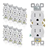 AIDA 15 Amp 125V 2-Pole,3-Wire Tamper Resistant Duplex Receptacles Self-grounding Wall Outlets, Residential Grade, UL Listed, Quickwire Push-In & Side Wired 10 Pack White 030561