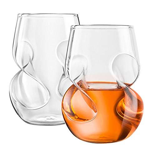 390ml Whiskey loodvrije kristallen glazen set van 2 handgeblazen grote buik Whiskey glas en bier glas voor familie en vrienden verzamelen gebruik stijlnaam size A