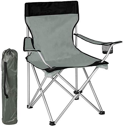 BAKAJI Spiaggina Sedia da Spiaggia Campeggio Pieghevole ad Ombrello Solida Struttura Tubolare in Ferro con Braccioli e Portabibita Colore Grigio Dimensioni 83 x 50 x 95cm
