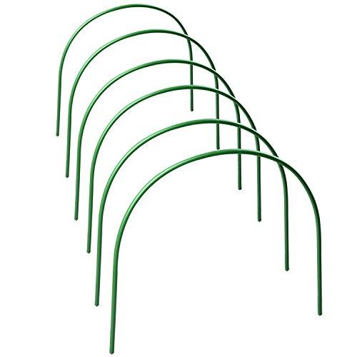 SUREH 6 x Gewächshaus-Reifen, lang, Stahl mit kunststoffbeschichtetem Gartenrahmen, Tunnel-Unterstützung für Gartengewebe, Pflanzenstütze, Gartenstecker