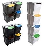 Mülleimer Abfalleimer Mülltrennsystem 100L - 4x25L Behälter Sorti Box Müllsortierer 3 Farben von rg-vertrieb (Grau)