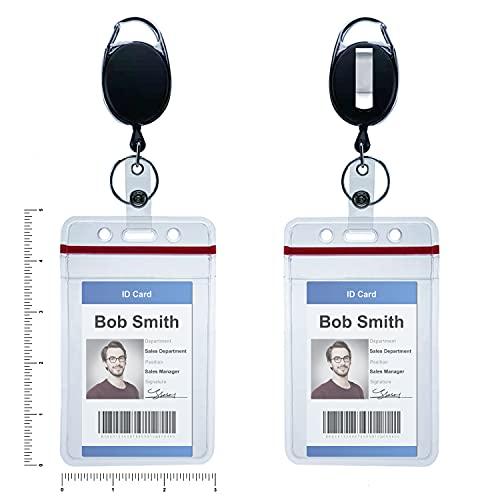 Bestom 2 Pack Heavy Duty Carabiner Retractalbe ID Badge Holder with Vertical Vinyl Waterproof Card Holders , Keychain Card Holder with Resealable Top Red Zipper id Card Sleeves