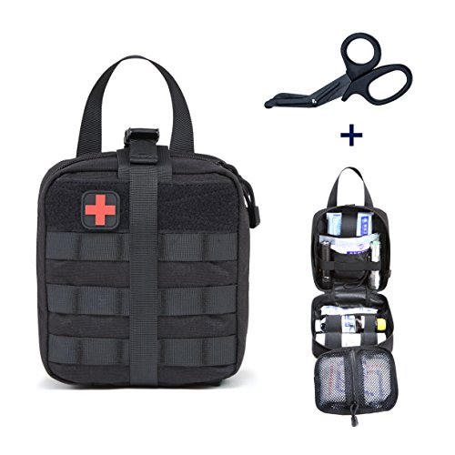 ZONE FR Pochette EMT Tactique Médecine, Sac de Premiers Soins Molle Kit de Premier Secours pour Randonnée Camping Airsoft avec Un...