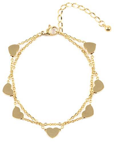 Happiness Boutique Damen Herz Armband in Goldfarbe | Mehrreihiges Armband Zarte Armkette Schmuck aus Titan
