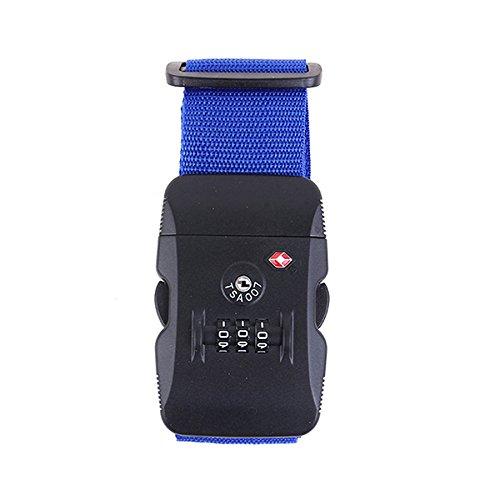 Aisxle TSAロックベルト スーツケースベルト TSA ロック ダイヤル式 ロックスーツケースベルト 解錠確認 ロック搭載ベルト ブルー