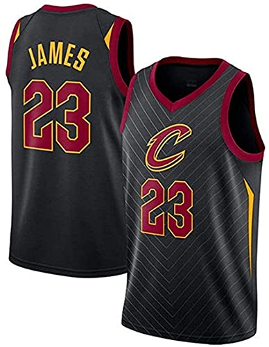 Jerseys NBA da Uomo - Cleveland Cavaliers # 23 JA-MES Fan di Pallacanestro Uniforme - Maglia Traspirante Maglia Ricamata,Nero,XXL
