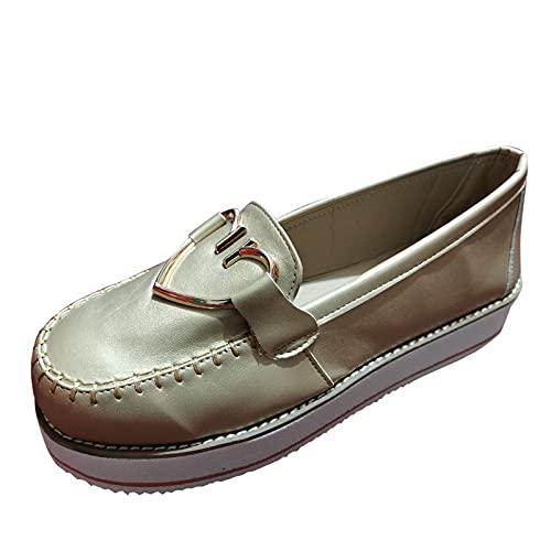 URIBAKY - Scarpe da donna con punta rotonda, alla moda, stile retrò, in metallo, a tinta unita, scarpe casual da corsa, corsa, corsa, fitness, traspiranti, Oro (oro), 42 EU