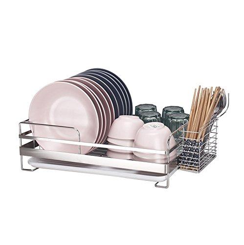 Rack de stockage de cuisine/support de plat/support d'acier inoxydable/support d'épice/panier de fuite de l'eau/support de drain (monocouche) deux tailles (taille : L(45*33.5*14cm))
