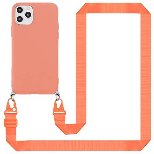 ZhuoFan Funda con Cuerda para Samsung Galaxy A11 / M11 [6.4'] Naranja Cárcasa Silicona Suave,Fundas con Correa para Hombro y Cordón- 57in Colgante Collar Correa de Cuello Antichoque Bumper Case