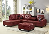 GTU Furniture Pu Leather Living Room Irreversible Living Room Sectional Sofa Set in Black/White (with Ottoman, RED)
