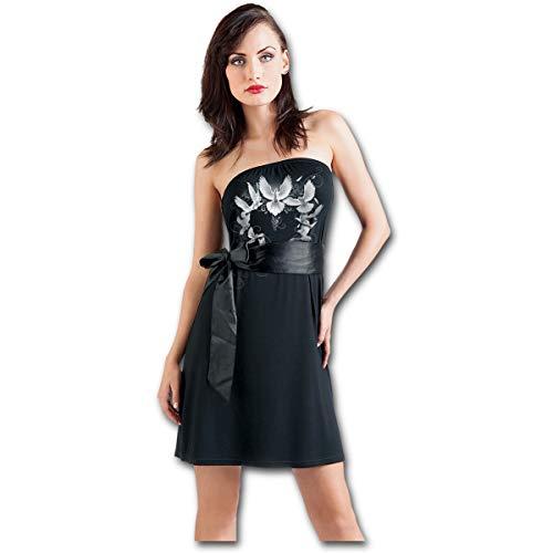 Spiral Direct Doves Heart-Lace One Shoulder Top Camisa Manga Larga, Negro (Black 001), 44 (Talla del Fabricante:) para Mujer