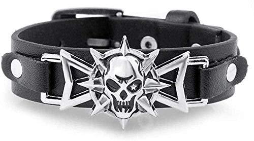 Pulsera Pulsera de Halloween Pulsera de hombre Esqueleto Calavera Ojo de estrella Punk Gothic Rock Cinturón de cuero Pulseras con hebilla para mujeres Hombres Pulseras y brazaletes Hombres Mujeres Pul