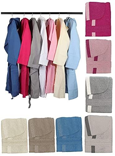 DEMONA Accappatoio Unisex in Spugna Nido D Ape con Tasche Cappuccio Cotone Uomo Donna Offerta S M L XL XXL Vari Colori Tinta Unita SPEDIZIONE Gratuita ((Azzurro, L)