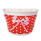 HEALTHLL Bicycle Scooter Basket Children Bike Plastic Knitted Bow Knot Front Handmade Bag Red