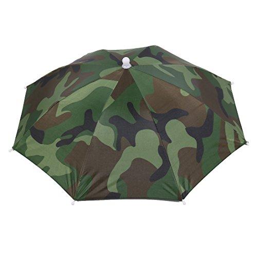 sourcing map Sourcingmap Regenhut Sonnenhut, Camouflage Gummiband Angeln Regen/Sonnenschirm Hut grün 13.4