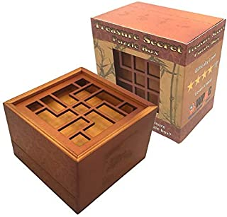 Treasure Secret Puzzle Box - Money and Gift Card Holder in a Wood Magic Trick Lock with Two Hidden Compartments Brainteaser Toy