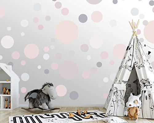 100 wandtattoo Punkte wandsticker Kreise fürs Kinderzimmer - Set Farben, Dots zum Kleben Wandaufkleber Wanddeko - Wandfolie, Kleinkinder, Erstausstattung auf Rauhfaser Aprikot - Mint - Beige