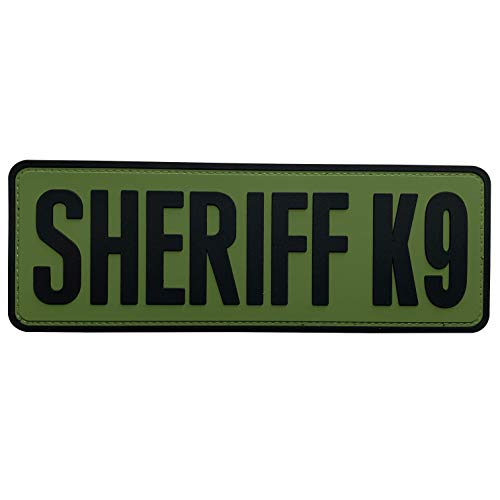 uuKen Sheriff K9 Patch Tac Vest OD Green 8.5x3 inch PVC Patch for Service Dog in Training Working for Dog Harness Vest (Black and Green, L 8.5'x3')