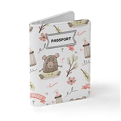 Tick&Pickパスポートケース スキミング防止 - SIMカード取り外しツール付属 - おしゃれとかわいいデザイン (パステル調の赤ちゃんのパターン)