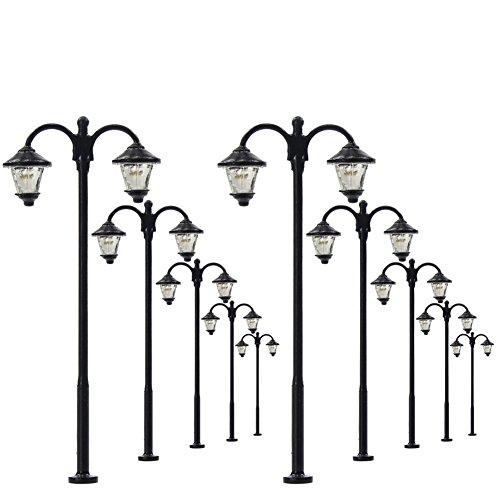 Evemodel 10 STK. LED Parklaternen Lampen Beuchtung 60mm 1:87 Spur H0 Minigarten Puppenhaus Dekor DIYcraft