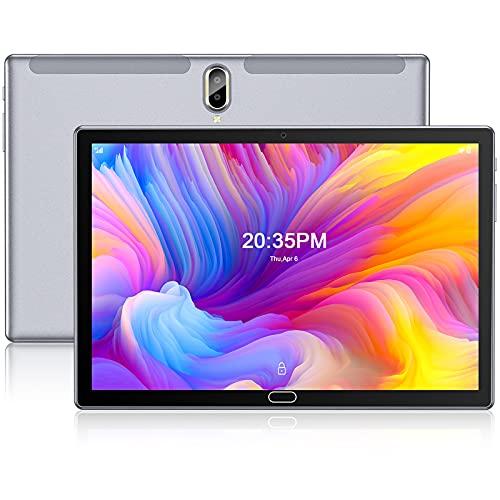 Tablet 10 Pollici,FEONAL Android 10 Tablets con 4G LTE + WIFI,4GB RAM + 64GB ROM,128GB Espandibili,Octa-Core,Batteria 6000mAh,Fotocamera 13MP,1080 FHD IPS,Dual SIM | GPS | Bluetooth | OTG-Grigio
