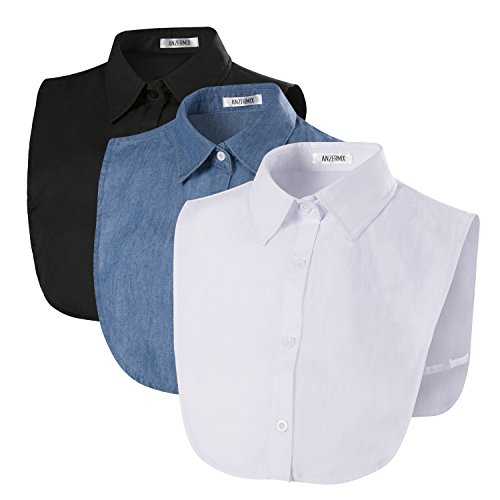 ANZERMIX Women's Peterpan Detachable Fake Collars Half Shirt Blouse Dickie Pack of 3