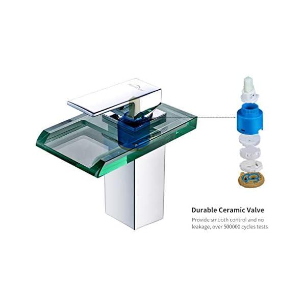 Auralum LED lavabo grifo cascada grifo de cristal con RGB Cambio de color baño cuarto de baño lavabo WC, cromo, Plateado