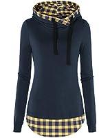 DJT Women's Funnel Neck Pullover Sweatshirts Tunic Hoodies Large Yellow Plaid