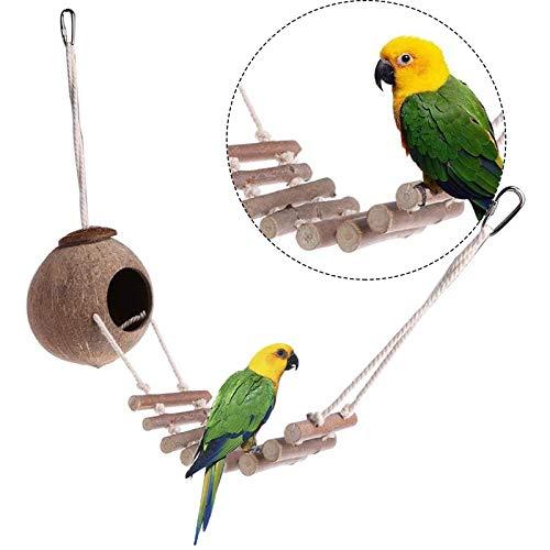 Kokosnussschale Vogelnest Vogelkäfig Mit Leiter Vogel Hamster Haus Bett Schaukel Für Papagei Vogel Schleife Vogelkäfig Leiter Brücke Für Vogelkäfige 67cm Für Vögel Wellensittiche Papageien Hamster
