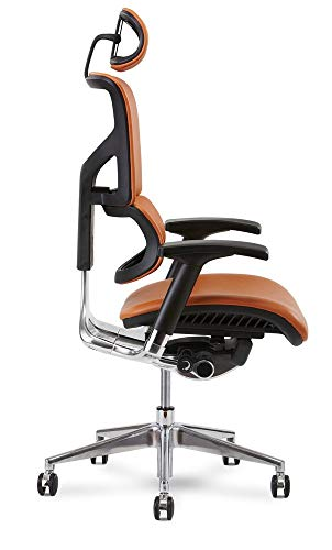 X Chair X4 Leather Executive Chair, Cognac Leather with Headrest