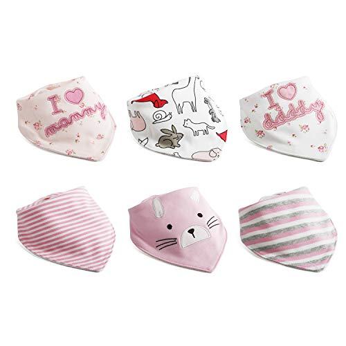 6pcs Baby Dreieckstuch Lätzchen Mädchen Spucktuch Baumwolle Halstücher mit süßen Motiven in unterschiedlichen Farben, Doppellagig Saugfähig …