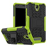 tinyue® Funda para ZTE Blade L5 Smartphone, Soft TPU + Hard PC Funda a Prueba de Golpes de Parachoques Case, con Soporte Armadura de Serie Hyun, Verde