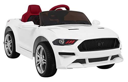 Coche Electrico para Niños Auto Alimentado con Batería Vehículo Eléctrico Control Remoto - Mustang BH-718A - Blanco