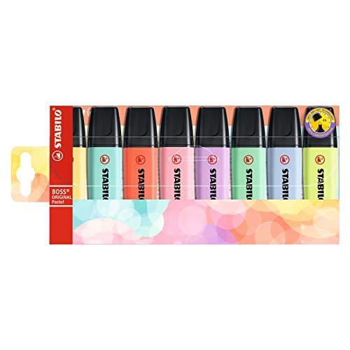 Textmarker - STABILO BOSS ORIGINAL Pastel - 8er Pack - mit 8 verschiedene Farben