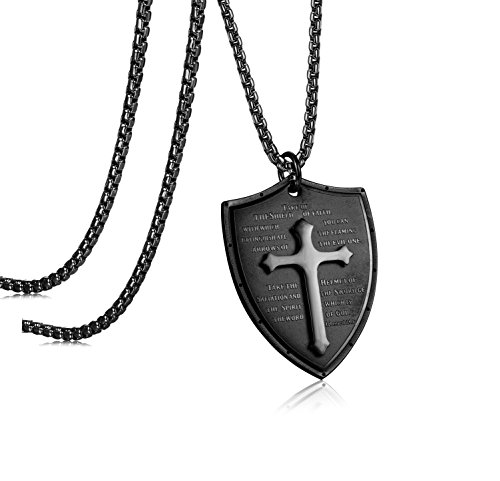 LOLIAS Stainless Steel Cross Pendant Necklace for Men Faith Necklace Shield Armor of God Ephesians 6:16-17 Engraved 24 Inches Black