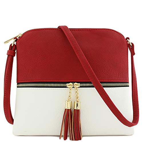 Lightweight Colorblock Medium Crossbody Bag with Tassel (Red/White)
