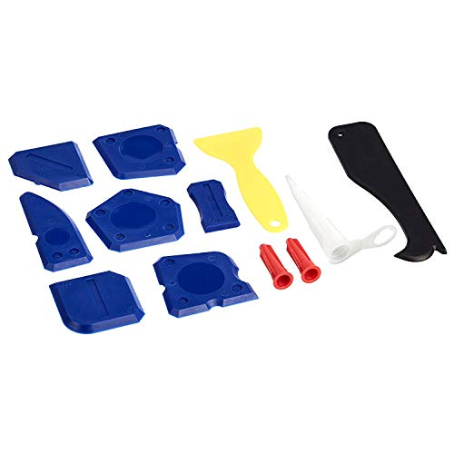 Amazonbasics Sealant Caulking Tool Kit, Include: Silicone Sealant Finishing Tool, Grout Scraper, Caulk Remover, Caulk Nozzle and Caulk Caps, 12-Piece