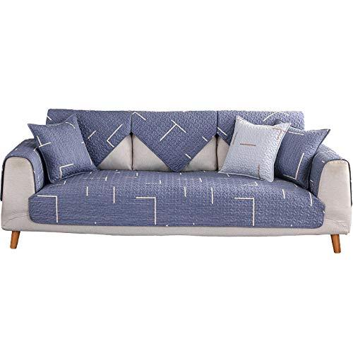 YUTJK Samt Sofabezug, Soft Velvet Couchbezug stilvolle Luxus-Möbelbezüge Anti-Rutsch-High Sesselbezug,Twill gedruckt gesteppter Baumwollsofa-Matte-Blau_45×45cm(Kissenbezug)