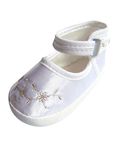 Seruna Festliche-r Baby-Schuh TP25 Gr. 16 Tauf-Schuhe weiß für Babies und kleine Mädchen zu Hochzeit-en
