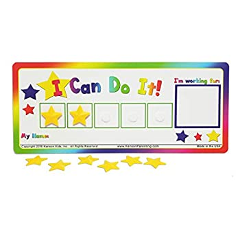 """Kenson Kids """"I Can Do It!"""" Token Board Colorful Magnetic Rewards Chart with Positive-Reinforcement Stars and Customizable Goal Box Great for Ages 3-10 Measures 5-Inches by 11-Inches"""