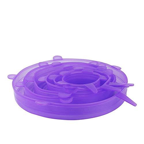 YBDZ 6pcs Silicona Estiramiento Tapas de Silicona Reutilizable Alimentos vacío del Abrigo Fresco Mantener Sello Cuenco Cubierta del pote sartén de Cocina Accesorios de Cocina (Color : Purple)