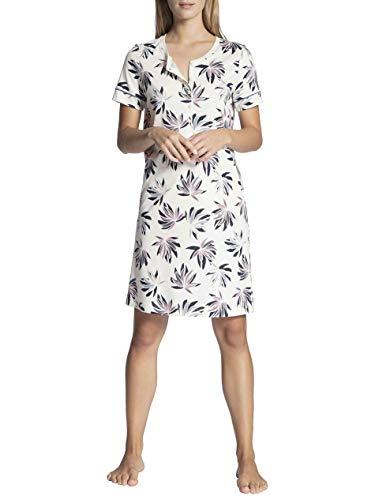 CALIDA Damen Cosy Flowers Nachthemd, Weiß (Leisure White 900), 40 (Herstellergröße:S)