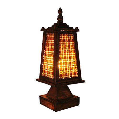 Lamparas de escritorio Sólido romántica tabla de madera Lámpara Bar Plaza dormitorio lámpara de cabecera tailandesa hecha a mano de época cálida luz de la noche con bambú tejido de la cortina Iluminac
