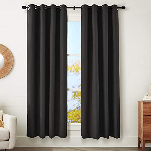 """Amazon Basics 100% Blackout Textured Linen Window Panel with Grommets and Thermal Insulated, Noise Reducing Blackout Liner - 52"""" x 84"""", Black"""