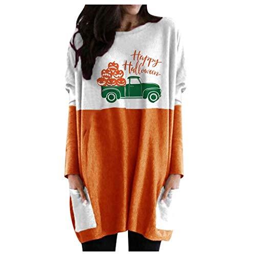 Sudadera Larga para Mujer Linterna de Halloween Fantasma, Estampado de Calabaza Camiseta con Cuello Redondo, Disfraz Informal Camisetas de Manga Larga (Verde, 3XL)